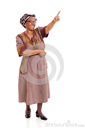 Senior african woman pointing