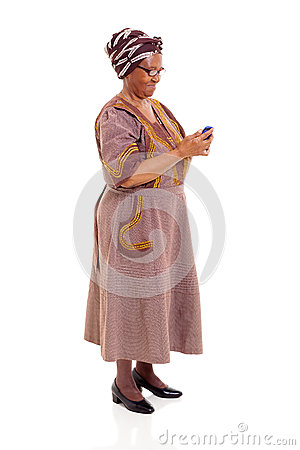 Senior african woman smart phone