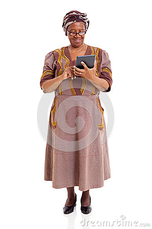 Senior african woman tablet