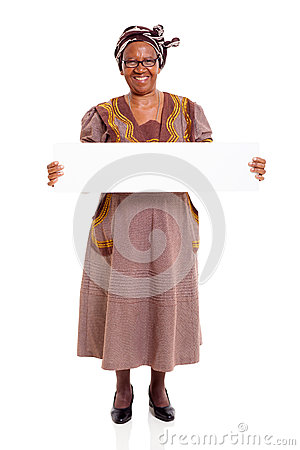 Senior african woman white board