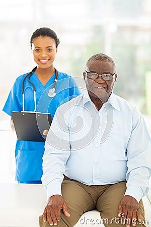 Senior afro american patient