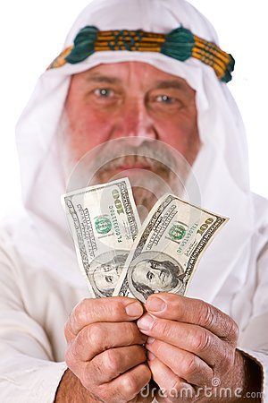 Senior Arab  Man Offering Money