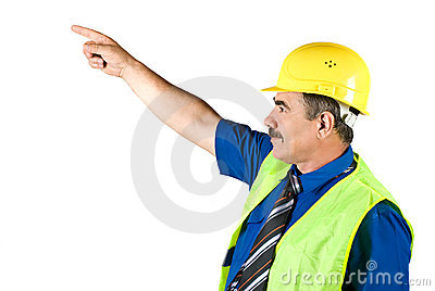Senior architect man pointing to upwards