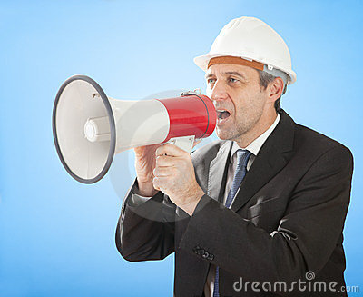 Senior architect shouting into megaphone