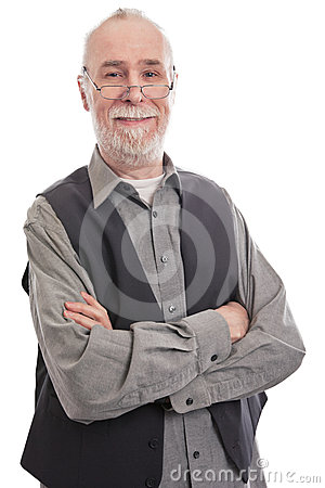 Senior with arms crossed