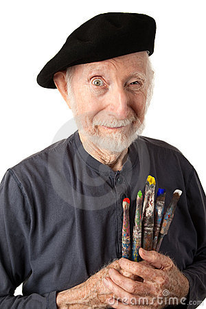 Free Senior Artist With Beret And Brushes Royalty Free Stock Photography - 16833997