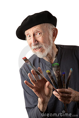 Free Senior Artist With Beret And Brushes Stock Photos - 16935293