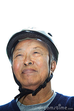 Senior asian man with bike helmet