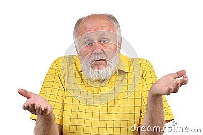 Senior bald man s gestures