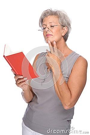 Senior with book