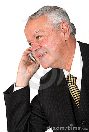 Senior business man on a cell phone