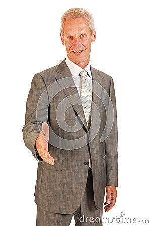 Senior business man giving hand