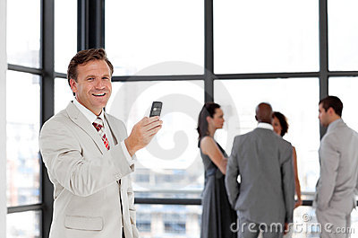 Senior business man on phone