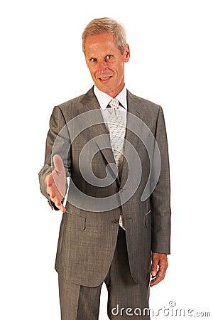 Senior business manshaking hands