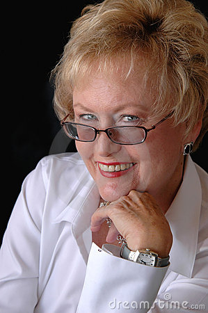 Senior business woman with glasses