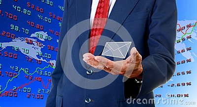 Senior businessman carry email from stock exchange