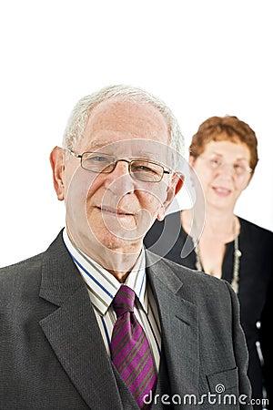 Senior businessman with colleague
