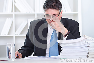 Senior businessman concentrate on work