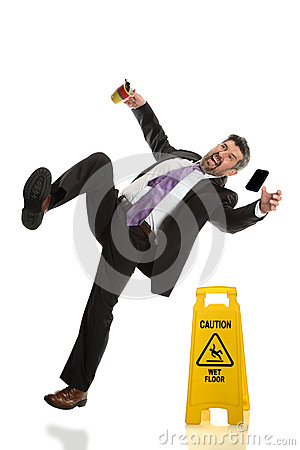 Free Senior Businessman Falling On Wet Floor Royalty Free Stock Photo - 52173505