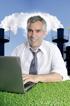 Senior businessman grass smog pollution