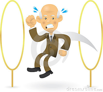 Senior Businessman Jumping Through Hoops
