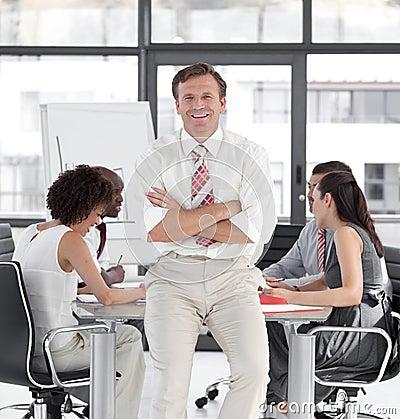 Senior Businessman leading team