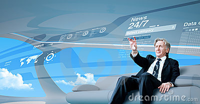Senior businessman navigating interface in future