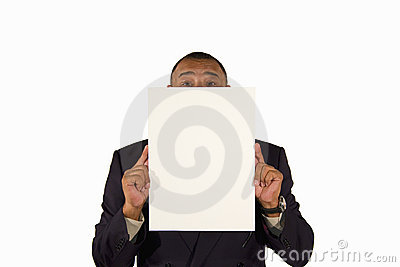 Senior businessman presenting a picture board