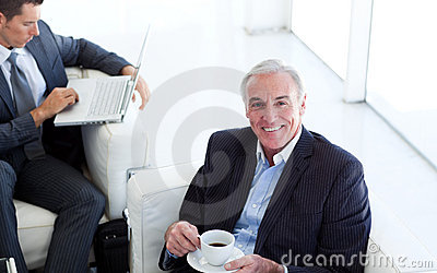Senior businessman waiting for a job interview