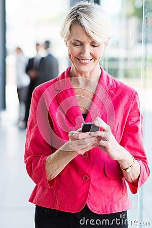 Senior businesswoman smart phone