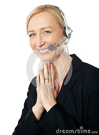 Senior call centre representative in action