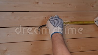 Senior carpenter working with ruler stock footage