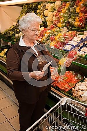 Senior citizen when shopping for food
