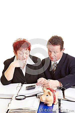 Senior citizens checking tax return