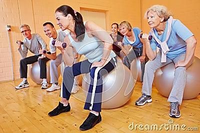 Senior citizens doing dumbbell