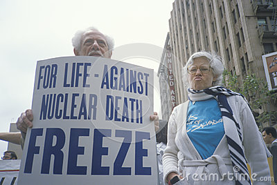 Senior citizens protesting nuclear warfare, Editorial Photography