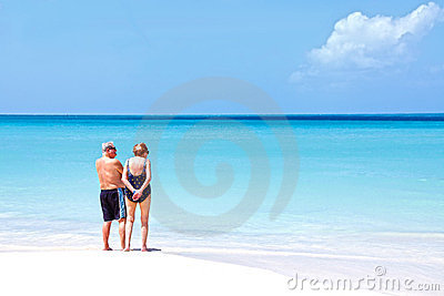 Senior couple beach vacation  Editorial Stock Photo