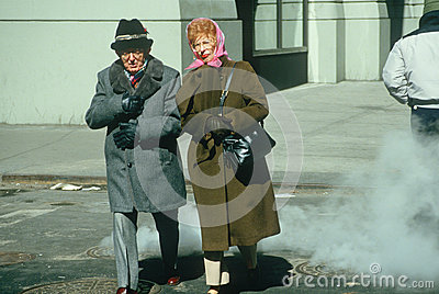A senior couple crossing the street Editorial Photography
