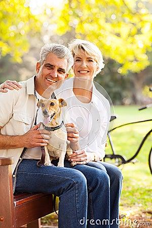Senior couple dog
