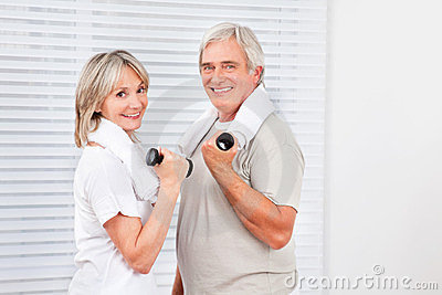 Senior couple doing fitness