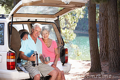 Senior couple enjoying a country picnic