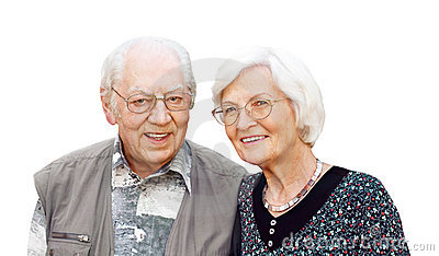 Senior couple with eyeglasses