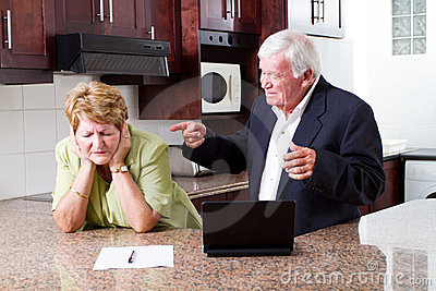 Senior couple fighting