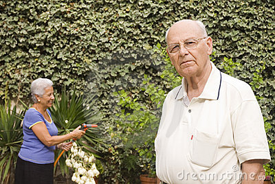 Senior couple in the garden