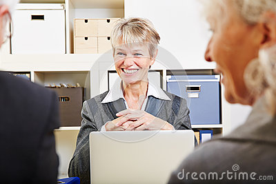 Senior couple getting financial