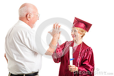 Senior Couple - Graduation High Five