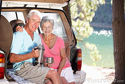 Senior couple having country picnic