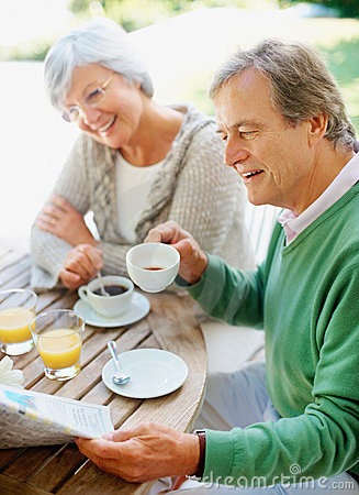 Senior couple having a cup of coffee