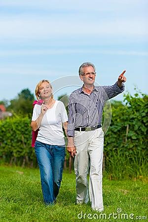 Senior couple having walk