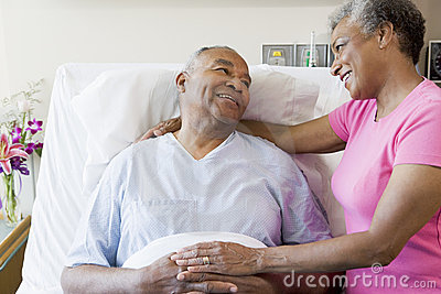 Senior Couple In Hospital Room